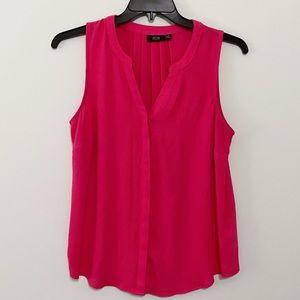 Apt. 9 Pink Chiffon Sleeveless Hidden Button-Down Blouse   Size Medium